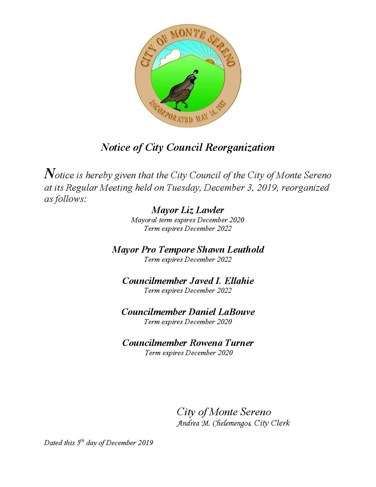 Monte Sereno City Council Reorganization December 2019